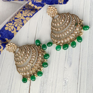 Sunset Earrings - Green, Earrings - THE KUNDAN SHOP