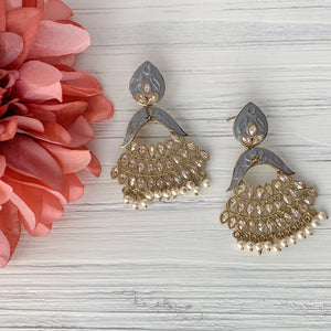 Painted Polki - Grey, Earrings - THE KUNDAN SHOP