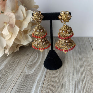 Two Tiered Ruby, Earrings - THE KUNDAN SHOP