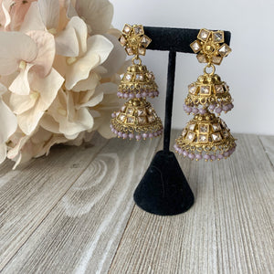 Two Tiered Lavender Earrings THE KUNDAN SHOP