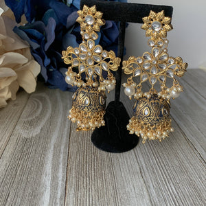 Rustic Saharay, Earrings - THE KUNDAN SHOP