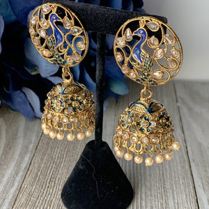 Blue Moorni, Earrings - THE KUNDAN SHOP