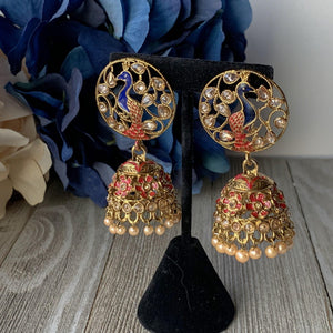 Red Moorni, Earrings - THE KUNDAN SHOP