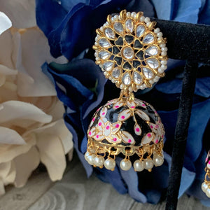 Jumki In Paint, Earrings - THE KUNDAN SHOP