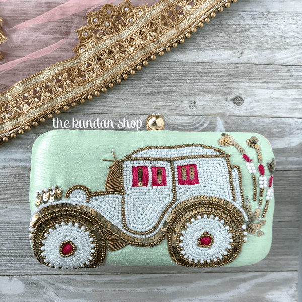 Minty Ride, Clutch - THE KUNDAN SHOP