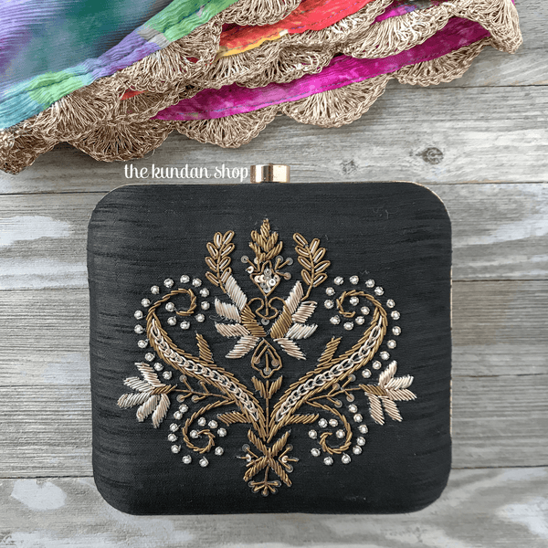 Black Night, Clutch - THE KUNDAN SHOP