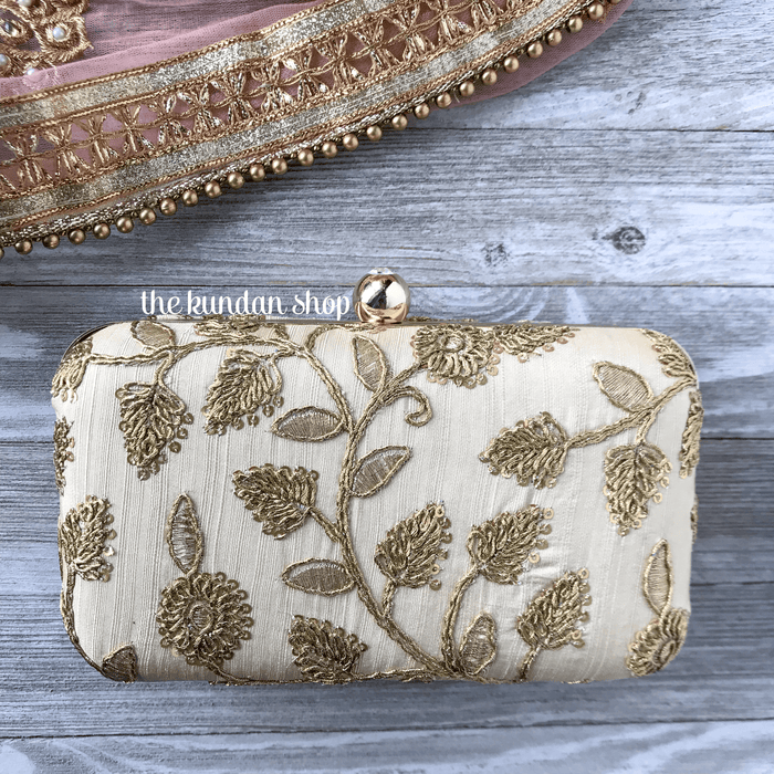 Casual Beige, Clutch - THE KUNDAN SHOP