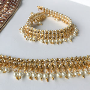 Double Gems & Pearls Anklets, Anklets - THE KUNDAN SHOP