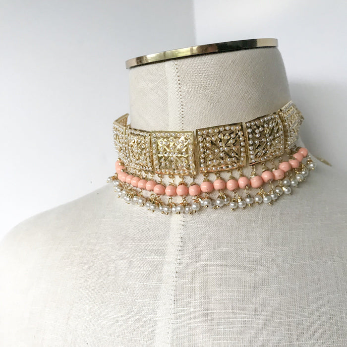 Classic & Timeless - Peach, Jadau - THE KUNDAN SHOP