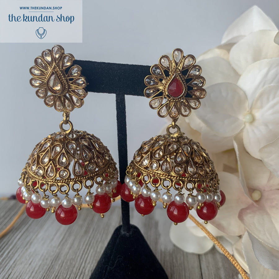 Irresistable - Red, Necklace Sets - THE KUNDAN SHOP