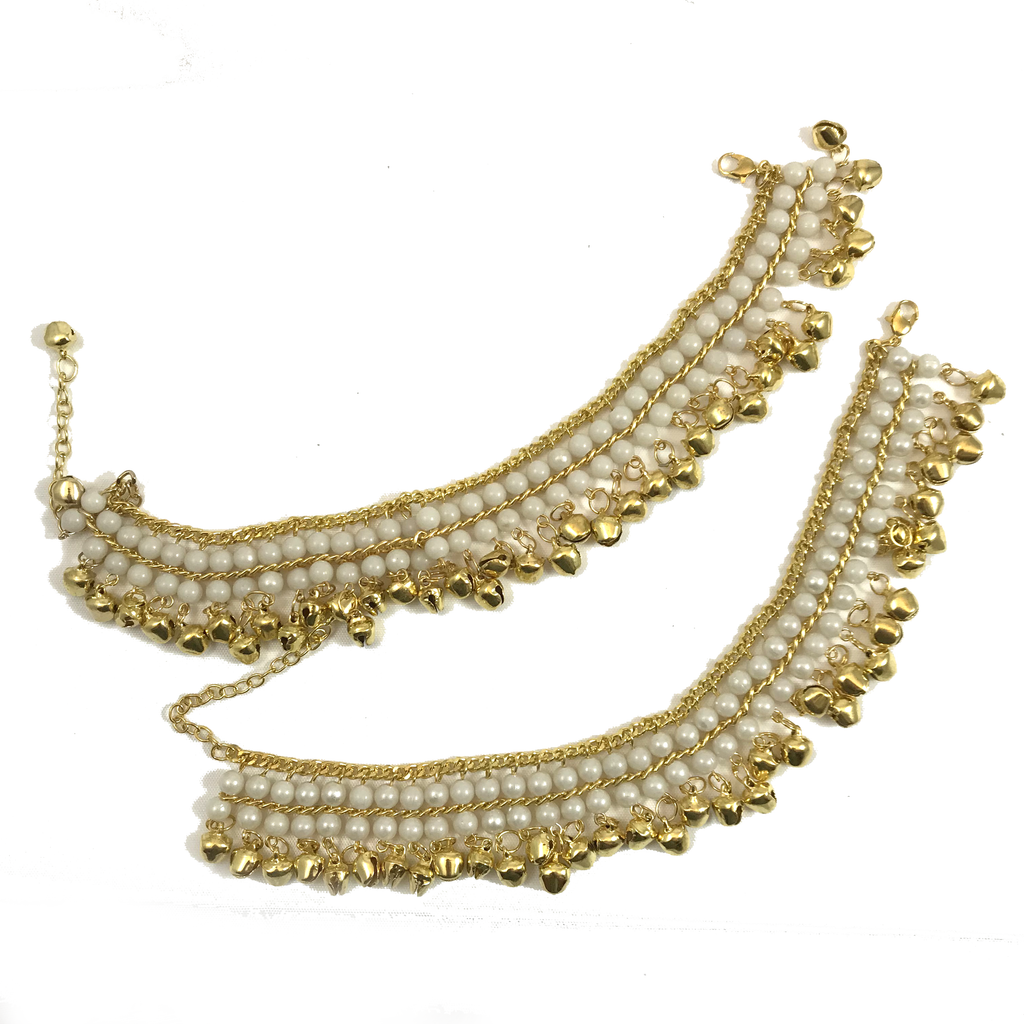 Light Gold Ghungroo, Anklets - THE KUNDAN SHOP