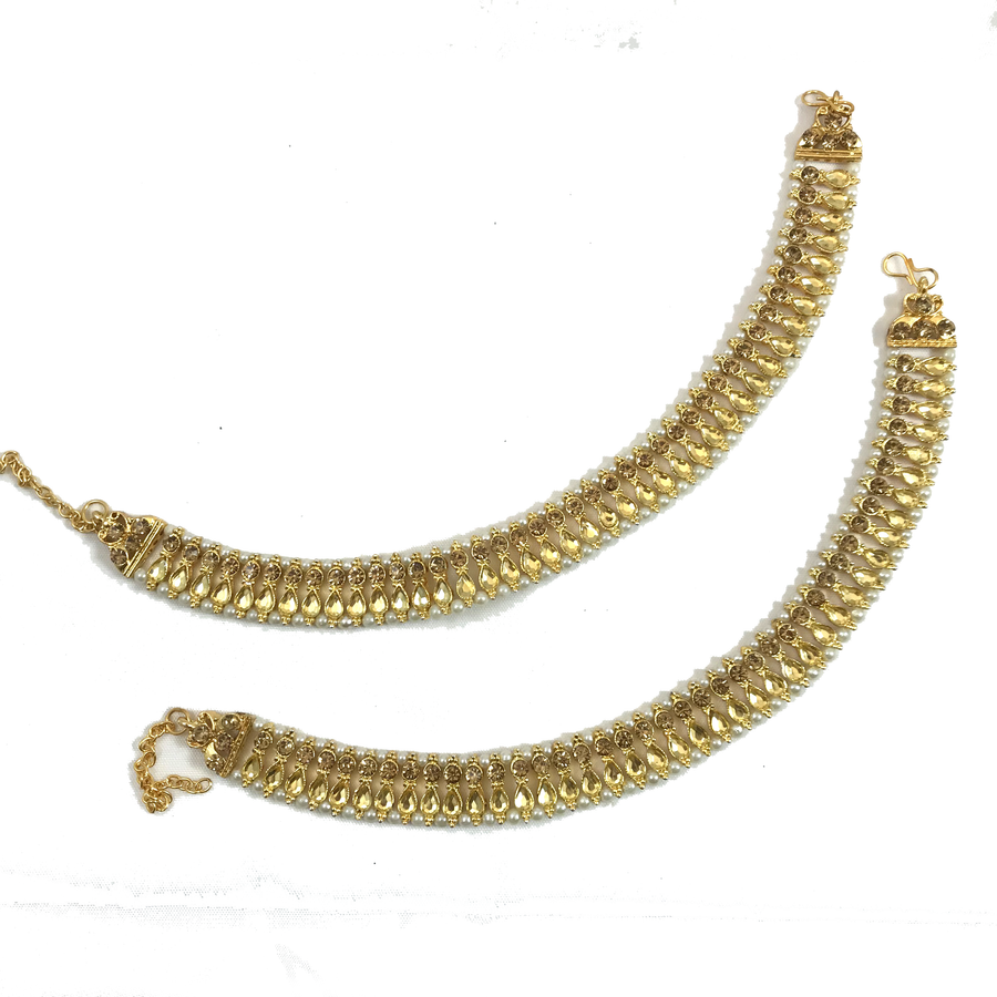 Golden Feels Payal, Anklets - THE KUNDAN SHOP