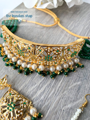 Committed Choker in Green, Necklace Sets - THE KUNDAN SHOP