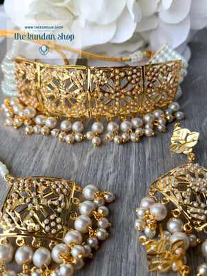 Committed Choker in Pearl, Necklace Sets - THE KUNDAN SHOP