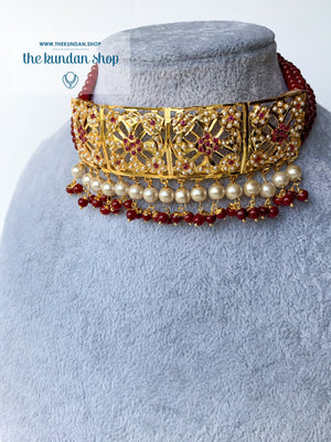 Committed Choker in Ruby, Necklace Sets - THE KUNDAN SHOP