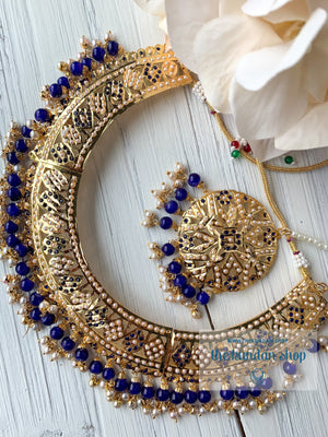 A Beauty In Jumki Jadau Set - Blue, Necklace Sets - THE KUNDAN SHOP