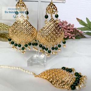 Attainable in Green Earrings + Tikka THE KUNDAN SHOP
