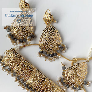 Classic & Timeless - Grey, Necklace Sets - THE KUNDAN SHOP