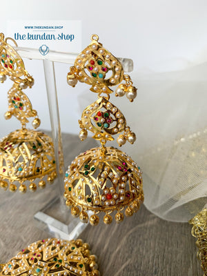 Allusion in Navrattan, Earrings + Tikka - THE KUNDAN SHOP