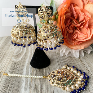 Classic Jumki's - Blue, Earrings + Tikka - THE KUNDAN SHOP