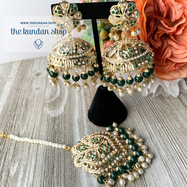 Classic Jumki's - Green, Earrings + Tikka - THE KUNDAN SHOP