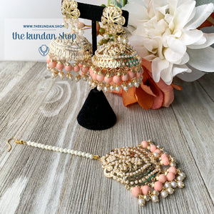Classic Jumki's - Peach, Earrings + Tikka - THE KUNDAN SHOP