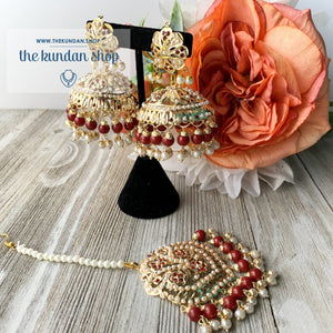 Classic Jumki's - Ruby, Earrings + Tikka - THE KUNDAN SHOP
