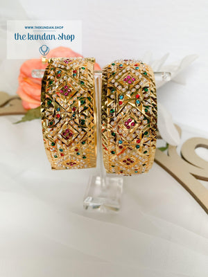 Jadau Bangle Pair in Multi Bangles THE KUNDAN SHOP