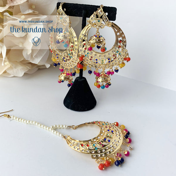 Multi-Color Sparkle, Earrings + Tikka - THE KUNDAN SHOP