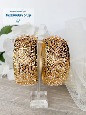Jadau Bangle Pair in Pearl Bangles THE KUNDAN SHOP