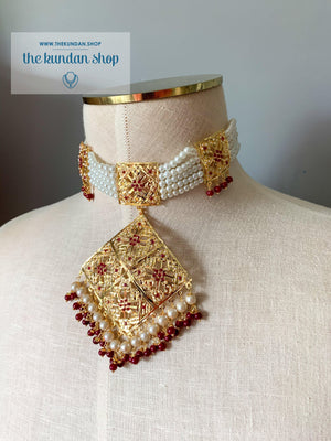 Mesmerized Choker in Ruby Necklace Sets THE KUNDAN SHOP
