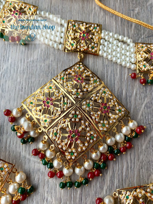 Mesmerized Choker in Ruby & Green Necklace Sets THE KUNDAN SHOP