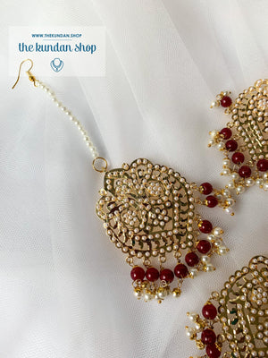Steady in Ruby Earrings + Tikka THE KUNDAN SHOP