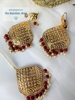 Attainable in Ruby Earrings + Tikka THE KUNDAN SHOP