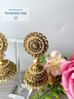 Pretty Picture Jhumkis Earrings THE KUNDAN SHOP Light Peach