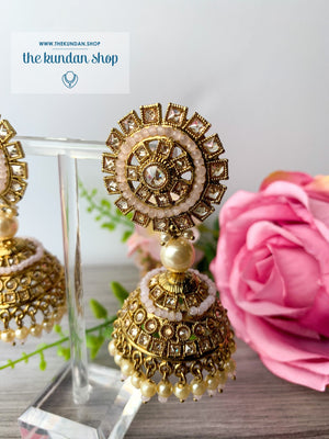 Pretty Picture Jhumkis Earrings THE KUNDAN SHOP Light Pink