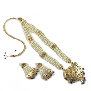 Multi-Colour Jadau Set, Necklace Sets - THE KUNDAN SHOP
