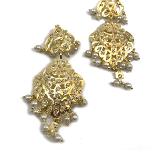 All Gold Jadau Set, Necklace Sets - THE KUNDAN SHOP