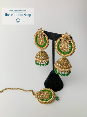 Above Else - Green, Earrings + Tikka - THE KUNDAN SHOP