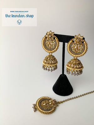 Above Else - Grey, Earrings + Tikka - THE KUNDAN SHOP
