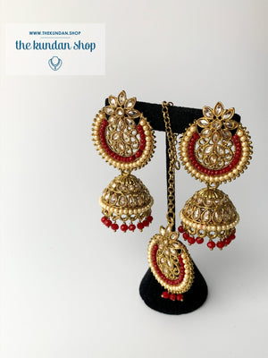 Above Else - Red, Earrings + Tikka - THE KUNDAN SHOP