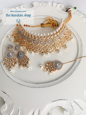 Infatuation in Grey Necklace Sets THE KUNDAN SHOP