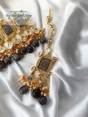 Royal Castle in Dark Grey Necklace Sets THE KUNDAN SHOP