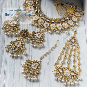 Wisp of Kundan - Cream, Necklace Sets - THE KUNDAN SHOP