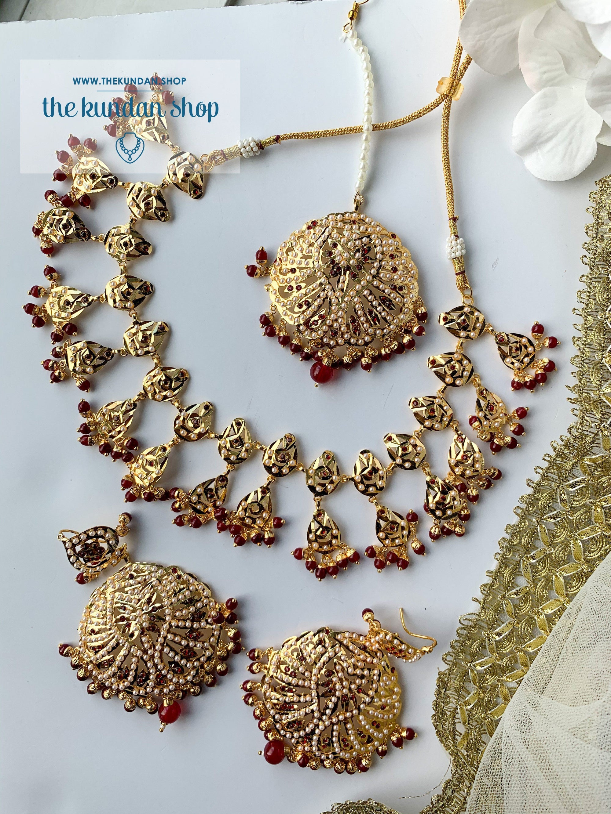 Smitten in Ruby, Necklace Sets - THE KUNDAN SHOP