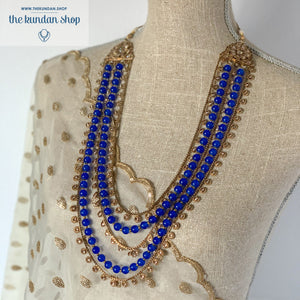 Layers of Royal Blue Necklace Set, Necklace Sets - THE KUNDAN SHOP