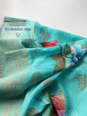 Banarsi Floral - Light Blue, Dupatta - THE KUNDAN SHOP