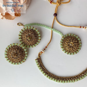 Line &  Studs - Light Green, Necklace Sets - THE KUNDAN SHOP