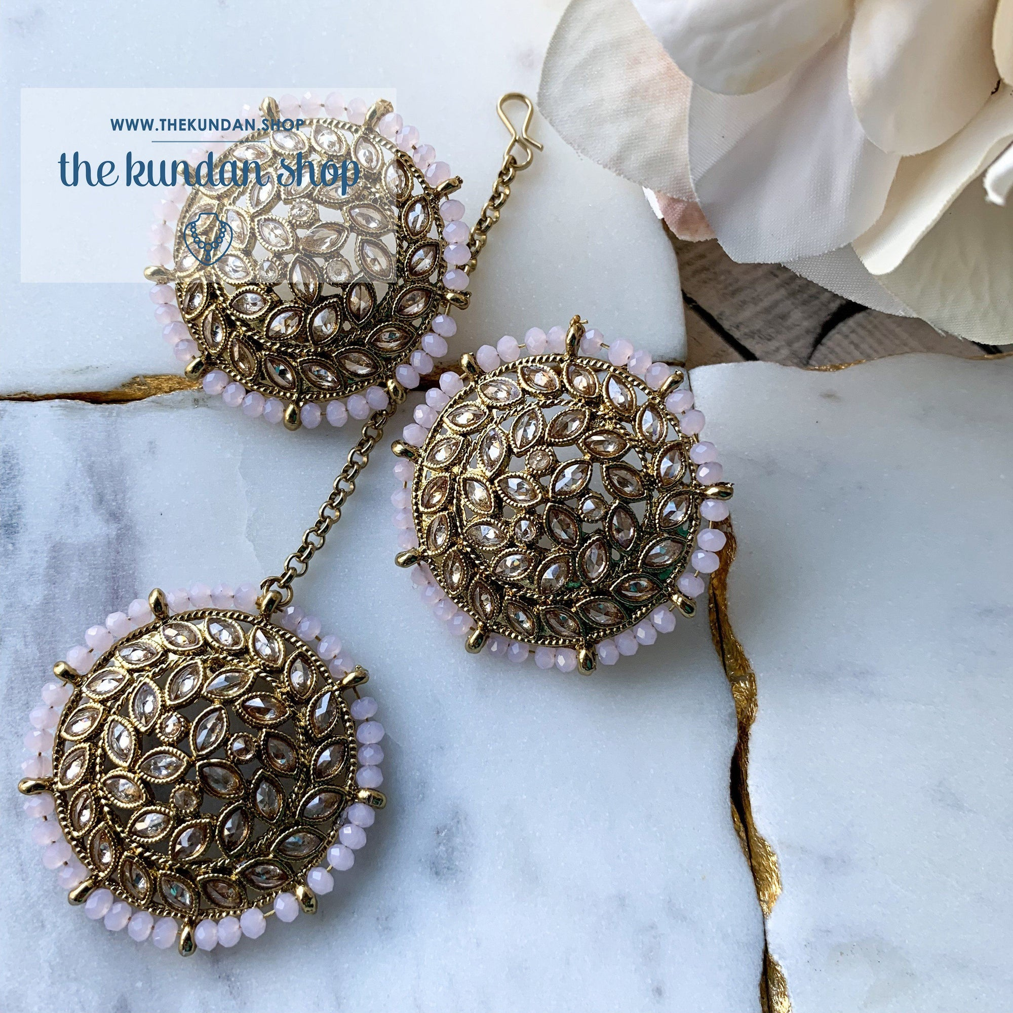 Petals in Polki - Light Pink, Earrings + Tikka - THE KUNDAN SHOP