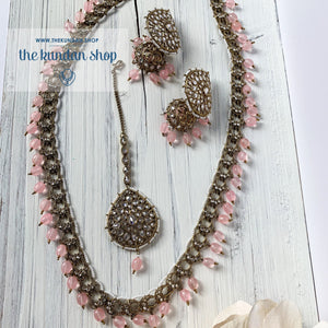 Chains Of Polki - Pink, Necklace Sets - THE KUNDAN SHOP